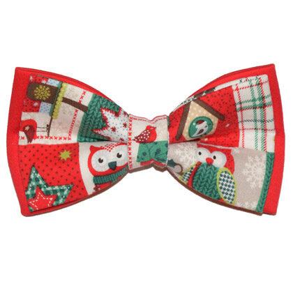 """Papion roșu de Crăciun """"Christmas Owls"""""""