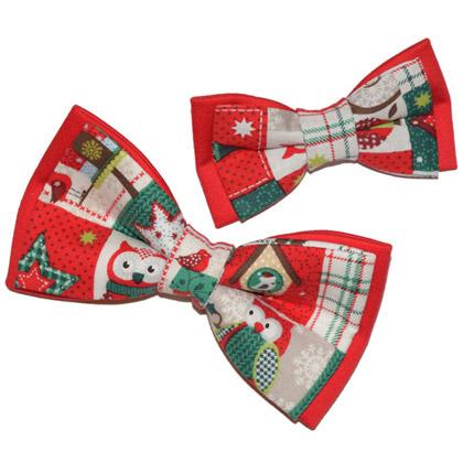 set papioane tată-fiu roșii de Crăciun Christmas Owls