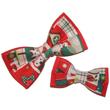 set tată-fiu papioane roșii de Crăciun Christmas Owls