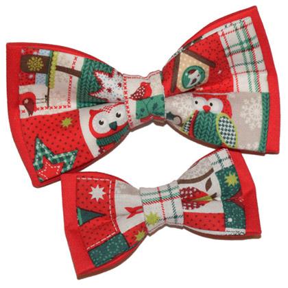 set tată-fiu papioane rosii de Crăciun Christmas Owls
